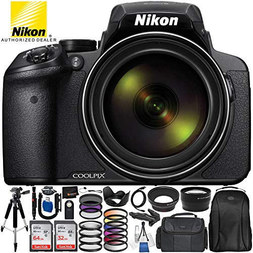 Nikon COOLPIX P900 Digital Camera with 83x Optical Zoom and Built-In Wi-Fi (Black) + Ultimate 96GB Accessory Kit. Includes 2X SanDisk Ultra Memory Cards + Wide Angle & Telephoto Lenses + MUCH MORE (Best Coolpix Camera 2019)