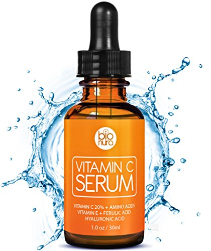 Das beste Vitamin C Serum für Ihr Gesicht mit Hyaluronsäure + Ferulasäure + Vitamin E + Aminosäurekomplexe. Natürliche AntiAging + Anti Falten + Bio Kollagen Booster Gesichtsserum mit organischen Inhaltsstoffen für alle Hauttypen.