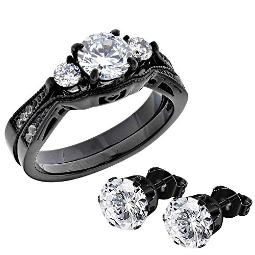 FlameReflection Black Stainless Steel Women Wedding Ring Sets Bridal Engagement Bands Round Cubic Zirconia CZ Three 3 Stones Vintage Style Plus Matching CZ Stud Earrings ()