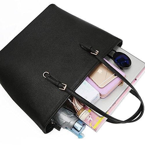 8e5b92c48b41f Solarfun PU Leather Tote Bag Top Handle Handbags for Girls Women Designer  Satchels Purse Ladies Shoulder