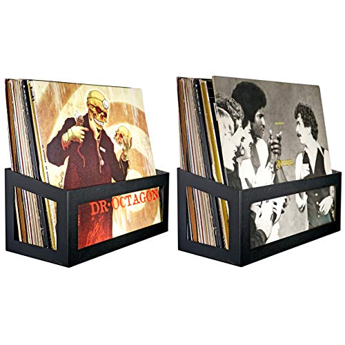 Hudson Hi-Fi Wall Mount Vinyl Record Storage 25-Album Display Holder | Black Satin | Two Pack