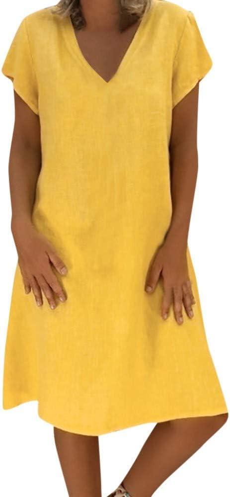 WDJYNL Vestido Vestido De Mujer Vestidos Largos Verano T-Camisa Casual Algodón Vestido De Mujer De Gran Tamaño: Amazon.es: Deportes y aire libre