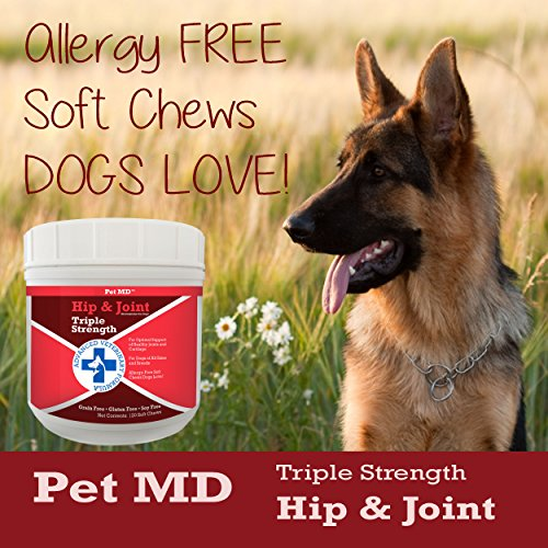 Product image of Pet MD Hip and Joint Supplement Glucosamine for Dogs – Triple Strength Allergy Free – 120 Soft Chews