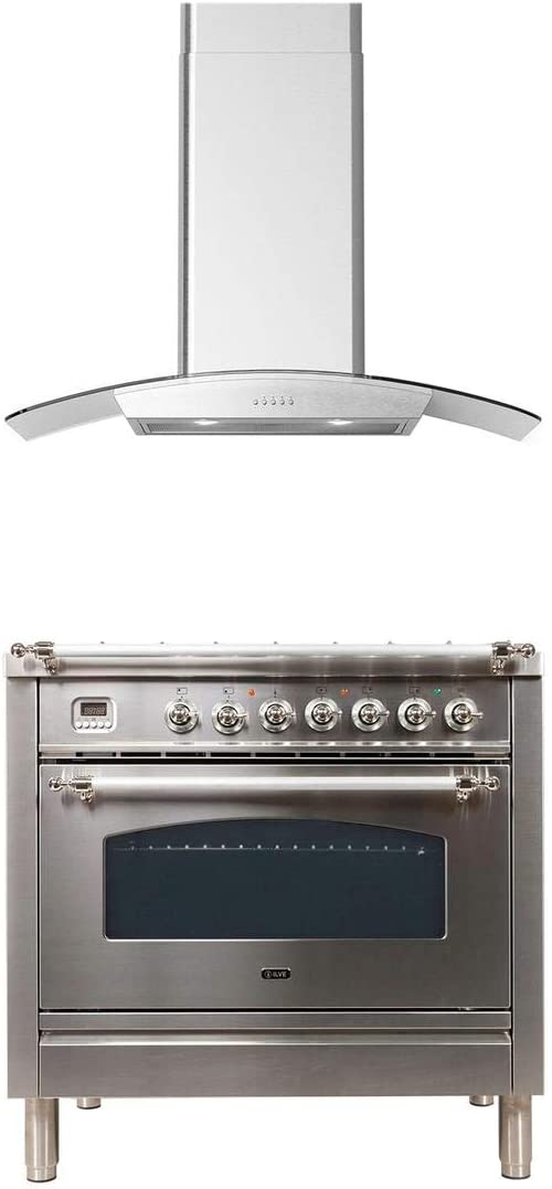Made in Italy Ilve 2 Piece Kitchen Appliances Package with UPN90FDMPIX 36 Dual Fuel Gas Range and Forte CORTIVO36 36 Wall Mount Convertible Hood in Stainless Steel