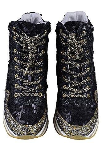 Gold 2Star Shoes Women's Black White, Beaded Sneaker 40