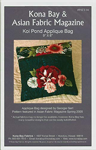 Koi Pond Applique Bag Pattern #04 from Kona Bay Fabrics - Asian Fabric Magazine Project Designed by Georgie Gerl Finished Size 9