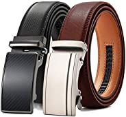 Mens Belt, Chaoren Leather Ratchet Dress Belts for Men 2 Packs with Slide Automatic Buckle in Gift Box, Trim t
