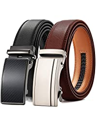 Mens Belt, Chaoren Leather Ratchet Dress Belts for Men 2 Packs with Slide Automatic Buckle in Gift Box, Trim to Exact Fit