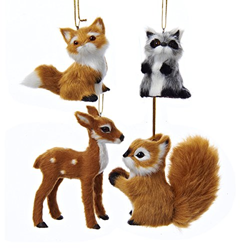 "Kurt Adler 2-4"" Plush Animal Ornament 4/asstd"