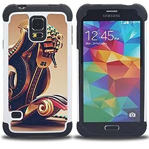 For Samsung Galaxy S5 I9600 G9009 G9008V - PHARAOH BOAT ABSTRACT GOLD BLING Dual Layer caso de Shell HUELGA Impacto pata de cabra con im??genes gr??ficas Steam - Funny Shop -