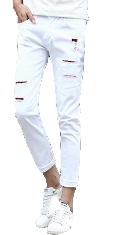 Zago Men's Slim Fit Broken Hole Casual Fashion Solid Comfort Denim Pants