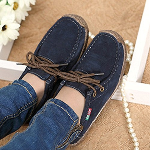 Lace Woman Shoes up Shoes Fashion Comfortable Casual Wild Footwear Warm Woman NEW Navy blue Women Flats f7Xwgq7