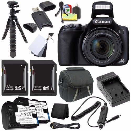 a5197f307 Canon PowerShot SX530 HS Digital Camera (Black) (International Model) +  NB-6L Battery + External Charger + 16GB SDHC Card + 32GB SDHC Card Saver  Bundle