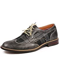 MET525-1 Men's Plaid Lace Up Wing Tip Classic Oxford Dress Shoes