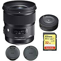Sigma 24mm f/1.4 DG HSM Wide Angle Lens (Art) for Nikon DSLR Camera Mount (401-306) with Sigma USB Dock for Nikon Lens & Sandisk 32GB Extreme SD Memory Card