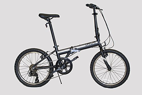 EuroMini Campo Lightweight Aluminum Frame Shimano 7-Speed 28lb Folding Bike, 20-Inch, Matte Black