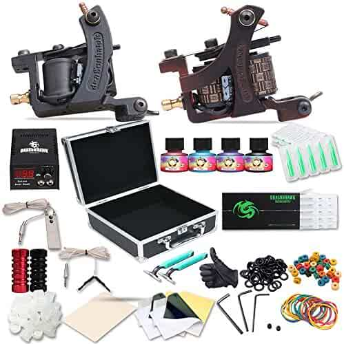Dragonhawk Complete Tattoo Kit Copper Coils 2 Tattoo Machines Immortal Tattoo Inks Power Supply Tattoo Needles Tips Grips Carry Case with Key Tattoo Supplies for Tattoo Artists 2-2YMX