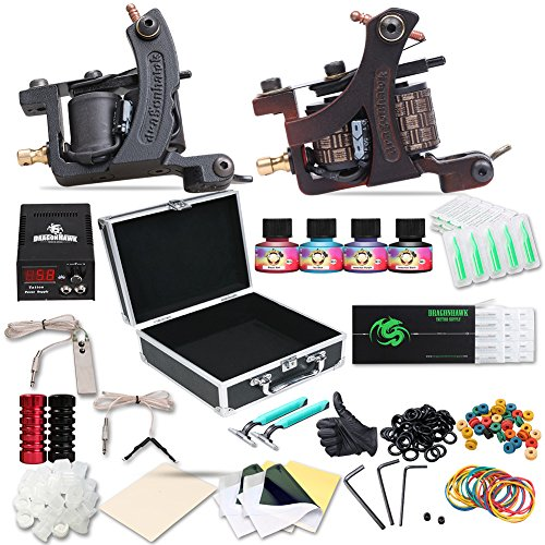 Dragonhawk Complete Tattoo Kit 2pcs Coil Tattoo Machine Tattoo Guns Color Immortal Inks Power Supply Needles Tips Grips Travel Case Tattoo Supplies for Tattoo Artists 2-2YMX