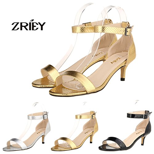 Picture of ZriEy Women Sexy Open Toe Ankle Straps Low Heel Sandals