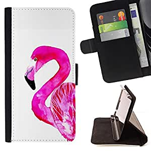 For Samsung Galaxy S4 IV I9500 Flamingo Pink White Bird Florida Watercolor Style PU Leather Case Wallet Flip Stand Flap Closure Cover