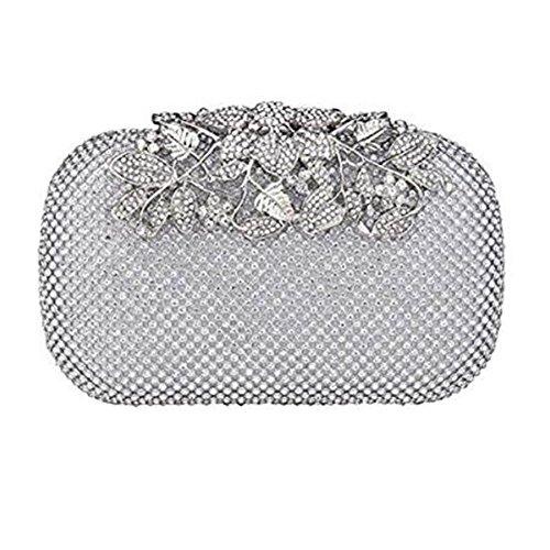 HBeauty - Cartera de mano de Satén para mujer plata