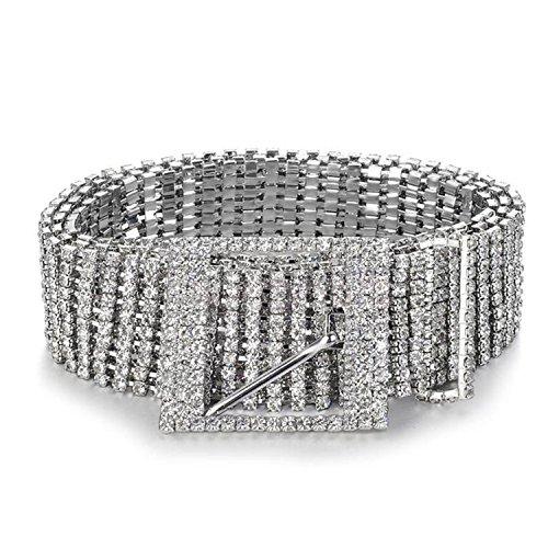 - Glamaker Women's Crystal Rhinestone Chain Waist Buckle Belt Sash Waistband Accessory Silver