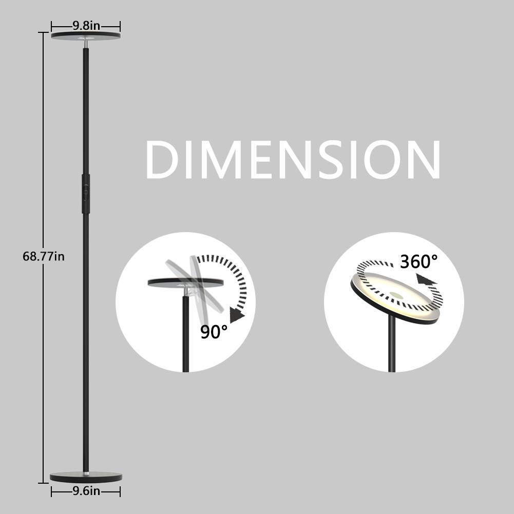 Uplight Dimmable Floor lamps Wifi Smart Compatible with  Alexa Google Home,Tall Standing Modern Pole Light Enabled Remote Control Stepless Touch Control for Living Room LED Torchiere Floor Lamp