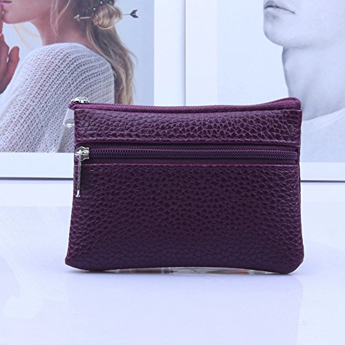 Clearance Sale! ZOMUSA Women's Fashion Hasp Short Card Holder Billfold Purse Mini Zipper Wallet (Purple -A)
