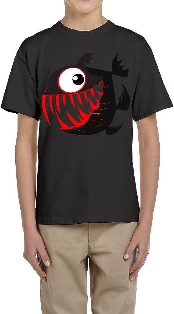Fzjy Wnx Boys Short-Sleeve T-Shirts Crewneck Scary Piranha Black