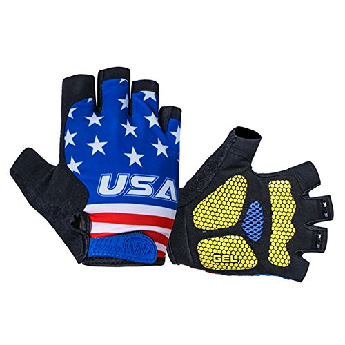 (Weimostar Shockproof Gel Padded Half Finger Cycling Gloves Blue USA Flag for Men Women Size L)