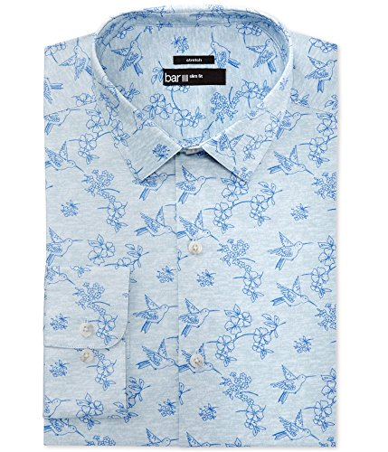 "Bar III Men's Slim-Fit Blue Hummingbird Print Dress Shirt (Neck 15-15.5"" Sleeve 32/33, Blue Hummingbird Print) from Bar III"