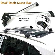 "ROKIOTOEX Universal Shark9795 Aluminum Alloy Silver Roof Rack Crossbars for Flush Roof Side Rails or Raised Roof Racks (Rail Height<1"") Extendable - Silver and Black Luggage Roof Rack CrossBars"