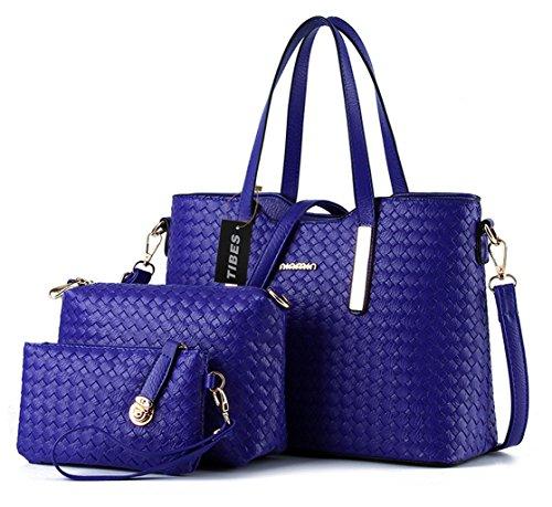 Tibes Leather Handbag Fashion Pu Shoulder Bag + Bag 3pcs + Purse Blue B