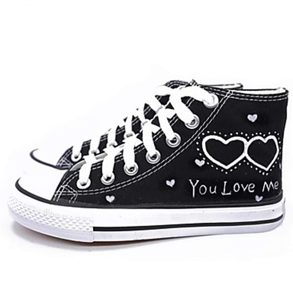 TTSHOES Femme Chaussures B01M9K12E1 sur 13442 Toile Printemps Blanc/Noir/Slogan/été Chaussures Vulcanisé Sneakers Plat Talon Bout Rond Blanc/Noir/Slogan Noir f27e715 - automaticcouplings.space