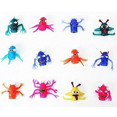 12 Unites Monstres de doigts Marionnettes en caoutchouc