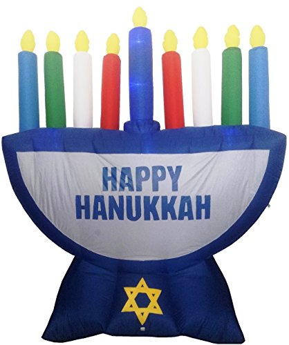 Jumbo Inflatable Menorah Decoration with LED Lights 7ft ()