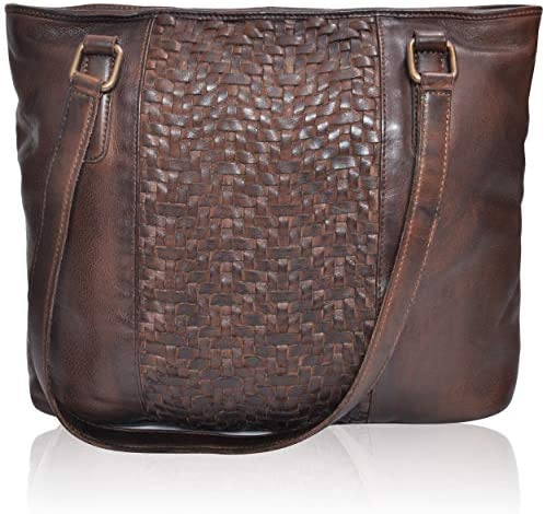 Leather Tote Bag for Women with Zipper - Travel, Work, Over the Shoulder Purses