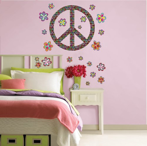 091212502819 - Brewster Wall Pops WPK99063 Peel & Stick Peace Wall Art Kit, 2-Sheets carousel main 1