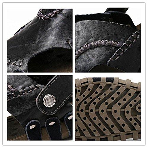 black Pantofole vera Zoccoli Taglia Black estive pelle EU39 NSLXIE casual uomo in da spiaggia per Ciabatte 43 infradito Sandali antiscivolo Scarpe 38 ciabatte morbide le da qATgwp