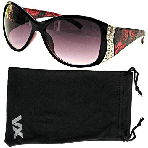 Vox Women's Sunglasses Designer Sport Fashion Rhinestone Vintage Floral Eyewear - Red Frame - Smoke Lens (Sunoptic Frames)