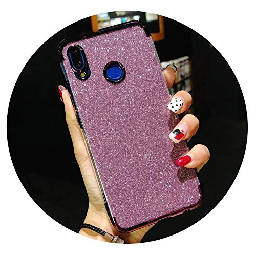 Glitter Frame TPU Phone Cases for Huawei P20 Lite Cover P10 P9 P8 Mate 10 Nova 2 3 Honor 9 7X 8X Y6 Prime Y9 2018 Silicone Case,Glitter Purple,for Huawei P20 Lite