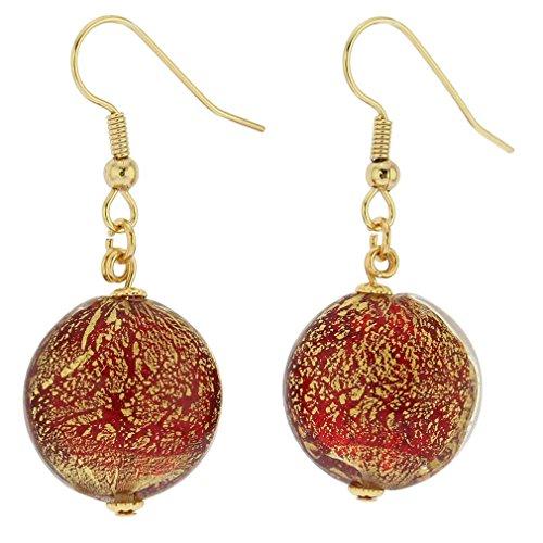 - GlassOfVenice Murano Glass Ca D'Oro Earrings - Ruby Red