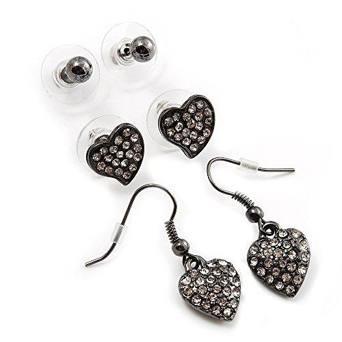 Ensemble boucles d'oreille pendant Coeur (3cm) et boule Coeur (10 mm) et Boule vert-de -gris (4 mm)