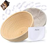 "Chefast Banneton Proofing Basket Set: Combo Kit of 9.5"" Natural Rattan Basket with Brotform Cloth Liner, 8 Bread Stencils and Bowl/Dough Scraper + Instructions - Make Perfectly Round Sourdough Boules"