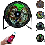 Fan,Greshare Portable Mini USB Bluetooth Full Color LED Display Table Desk Fan with Texts, Real-time Clock and DIY Real-time Pictures Display (iOS & Android APP Support)