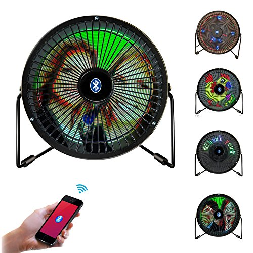 Fan Desk Clock - Desk Fan, Portable Mini USB Bluetooth Full Color LED Display Table Desk Fan with Texts, Real-time Clock and DIY Real-time Pictures Display (iOS & Android APP Support)