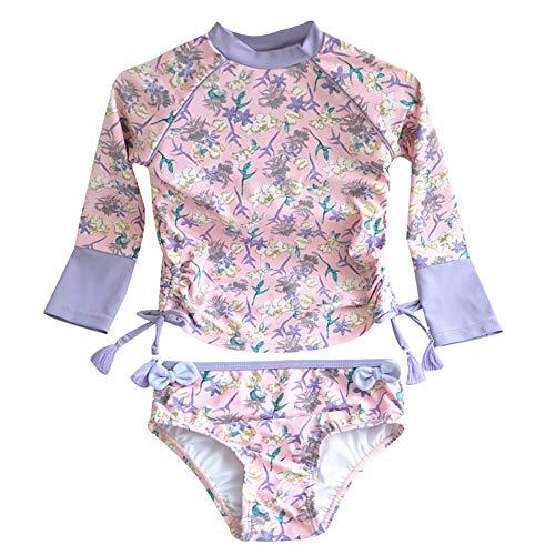 Happy childhood Kids Swimsuits Girl's Two-Piece Long Sleeve Swimsuits Super Cute Princess Bathing Suit UPF50+ Rash Guard 90 Light Purple