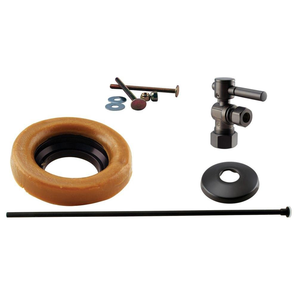 Westbrass 1/2'' Nominal Compression Lever Handle Angle Stop Toilet Installation Kit with Annealed Brass Supply Line, Oil Rubbed Bronze, D1614TBL-12