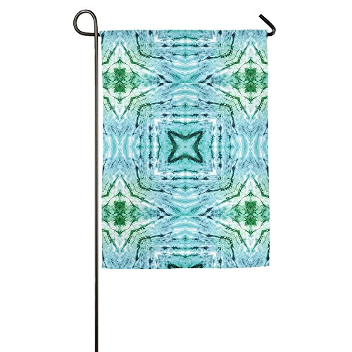(Ojinwangji Star Inside Square Shaped Kaleidoscope Tie Dye Motive With Outer Figures Yard Flag To Brighten Up Your)