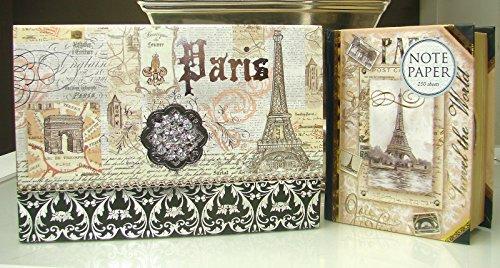 Punch Studio Paris Gift Set Duo! Brooch Note Card Set Memo Pad Paper Book Box, Eiffel Tower